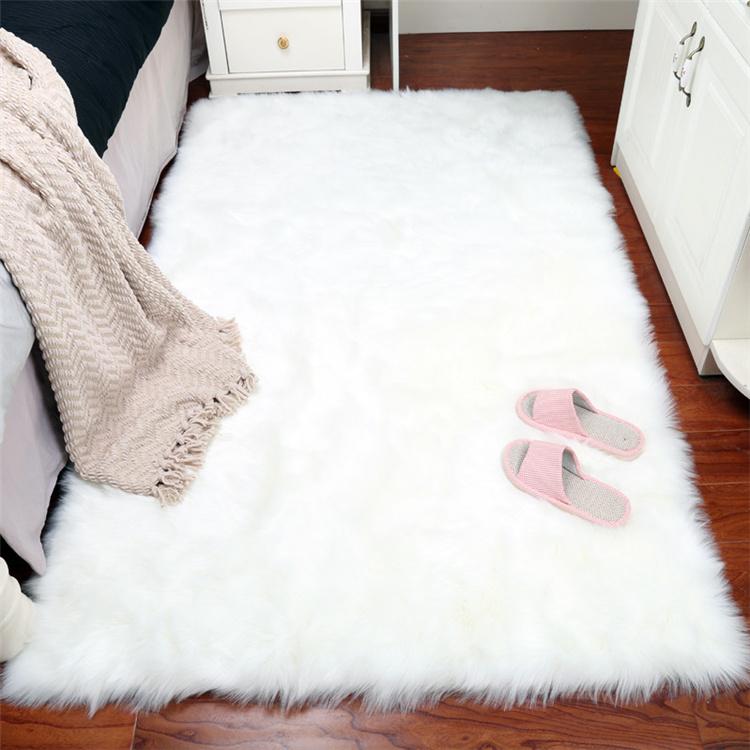 Faux Fur Rug White Fuzzy Fluffy