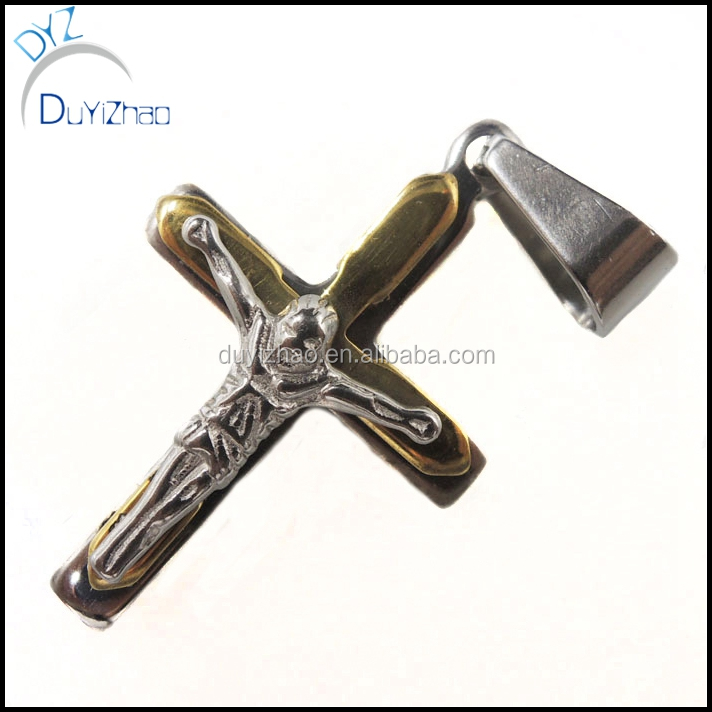 Stainless Steel Silver/Black/Gold Cross Jesus Pendant Chain Men's Necklace