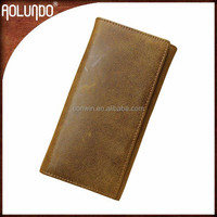 Top quality handmade european man trifold genuine leather wallet
