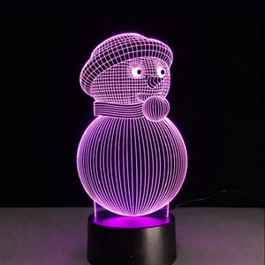 Color Change Illusion Snowman Led Night Lights 3D Visual for Kids USB Desk