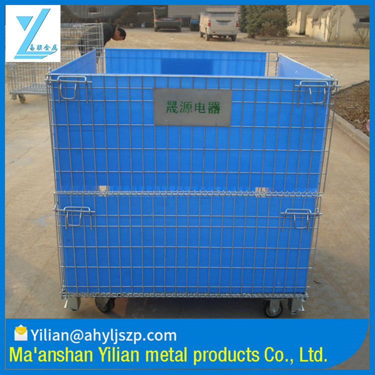Warehouse Use Foldable Wire Mesh Steel Cage with Blue Interior Sheet