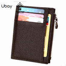 Business genuine Leather RFID Men Credit Card Holder Slim Wallet