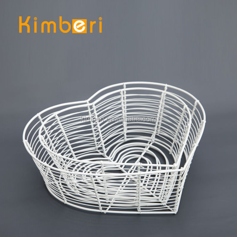 eco friendly customized heart-shape wire netting kitchen basket with power coating