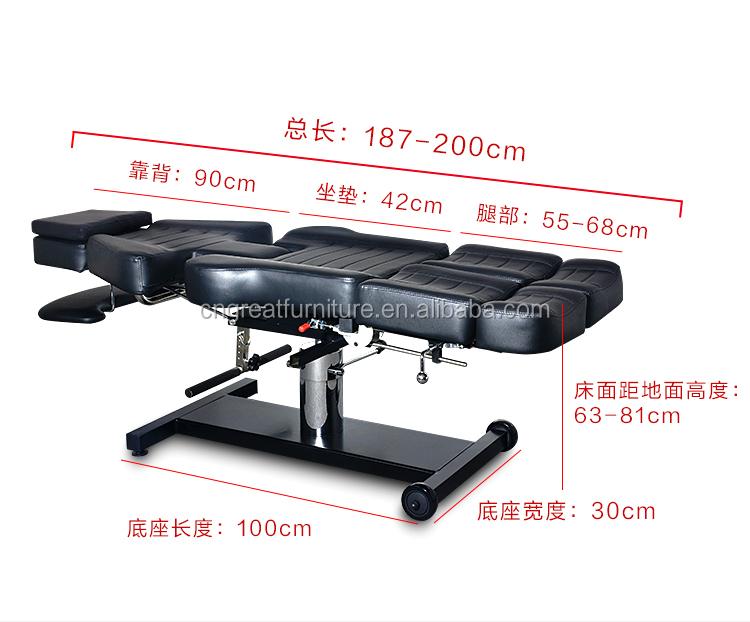Meer functies verstelbare hydraulische tattoo stoel voor full body
