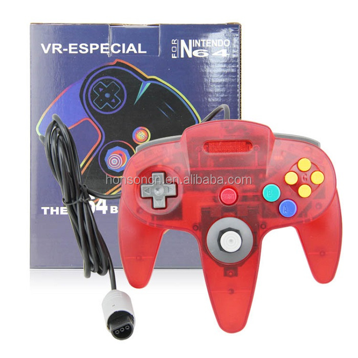 Made-in-China Crystal Red Wired Console Port Controller for N64 Joypad