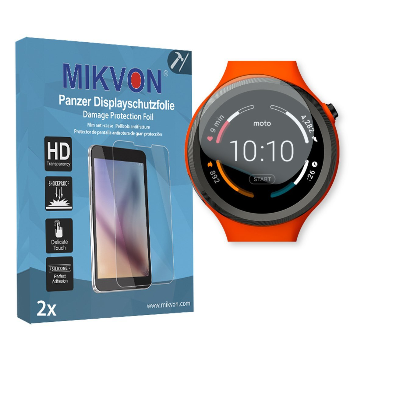 2x Mikvon Armor Screen Protector for Motorola Moto 360 Sport Smartwatch screen fracture protection film - Retail Package with accessories (intentionally smaller than the display due to its curved surf