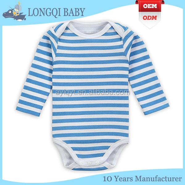 Long Sleeve Naval stripe organic cotton baby bodysuit/baby romper