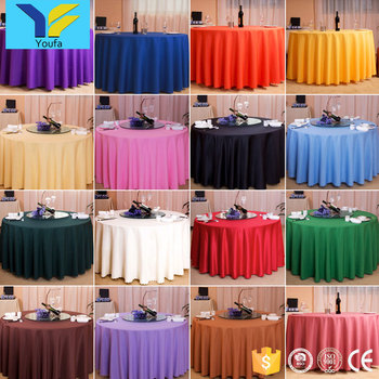 China Suppliers Plain 100 Polyester Tablecloths Round Wedding Table Cloth