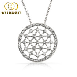 High Quality Elegant sterling silver flower of life pendant