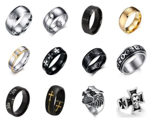 New Arrival Stainless Steel Silver Gold Single Big Black Stone Diamond Mens Ring