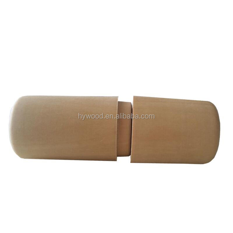 rotating lid cylinder natural wood color packing box