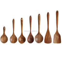 FT-313S Bangkok Teak Wooden Cooking Soup Non Stick Frying Pan Spoon Set