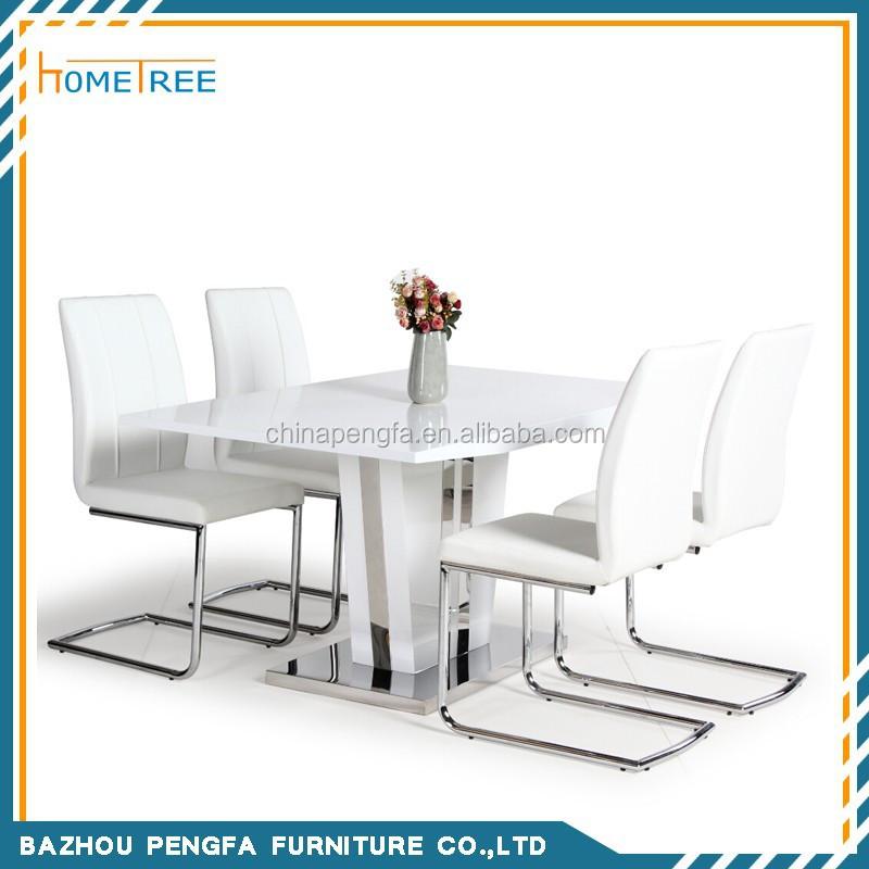 Eetkamer wit hoogglans uitschuifbare eettafel victoria cm tot in hoogglans grijs - Eettafel en houten eetkamer ...