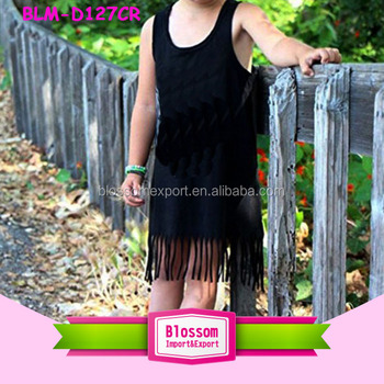 Unique Baby Girl Name Tassel Frock Dress Children's Boutique Clothing Sleeveless Blank Black Kids Fringe Tank Dress For Baby