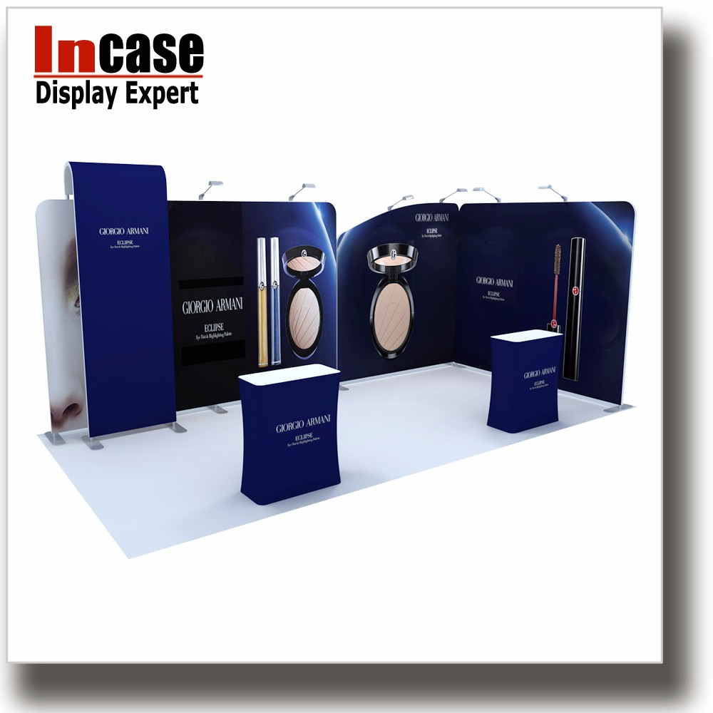 Incase Trade show display cosmetic exhibition stand design