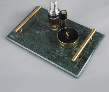 High End Hotel Shop Rectangle Marble Tray With Mental Handles Green Marble Serving Tray