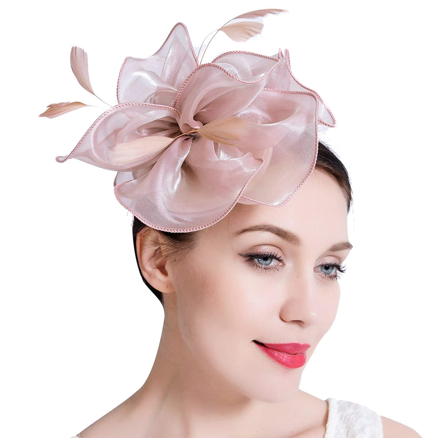 e4a025aa564eb JaosWish Sinamay Vintage Women Fascinators Derby Hat Feather With Headband  Cocktail Headpiece For Tea Party Wedding