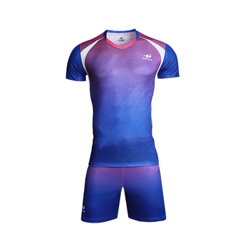 db165b68db1 ZHOUKA New Style Custom Design Women Volleyball Uniform Color Blue And Pink  Sports Volleyball Jersey