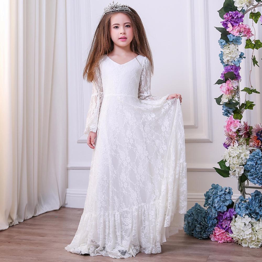 ee494e6ab Primera Comunión vestidos para las niñas nueva marca encaje niño pequeño  desfile flor chica vestidos para