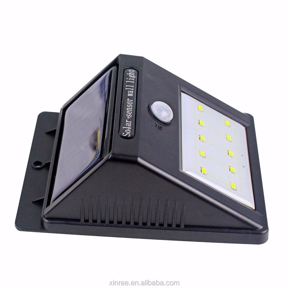 Motion Sensor 10pcs PC+ABS LED Outdoor Solar Wall Lamp SL-810D
