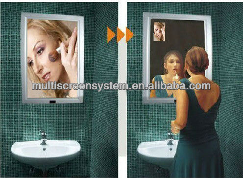 22 inch mirror advertising displayer with motion sensor for bathroom