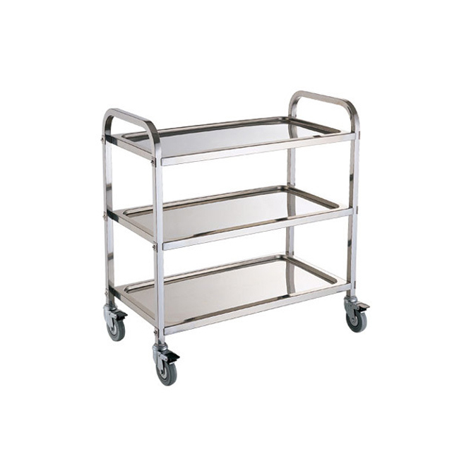 S082 3 Layers Assembling Heavy Duty Restaurant Service Trolley Stainless Steel Kitchen Trolley