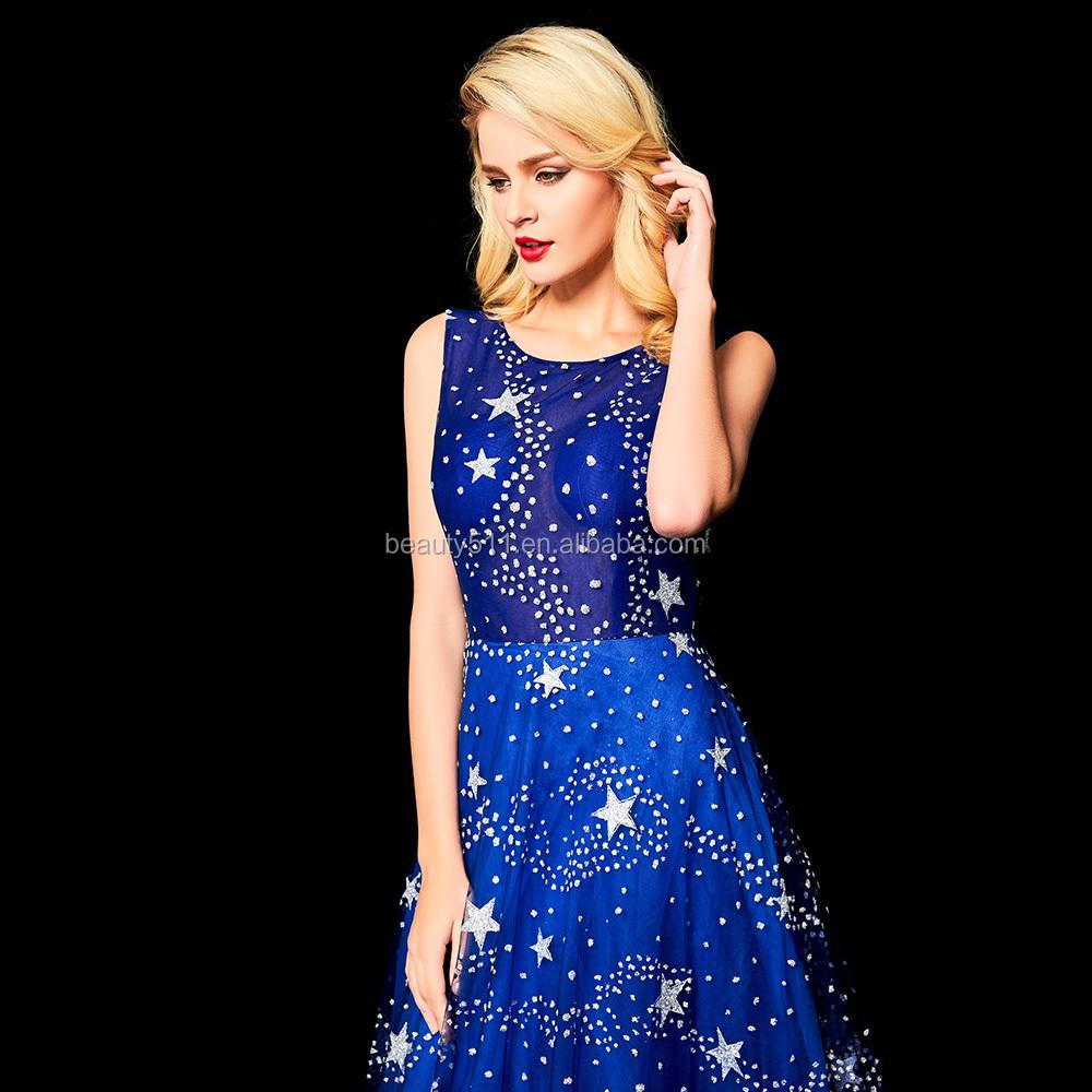 87e7ff72a2f 2018 encaje Formal manga corta fiesta Formal Vestido largo de una línea  brillante lentejuelas vestido de