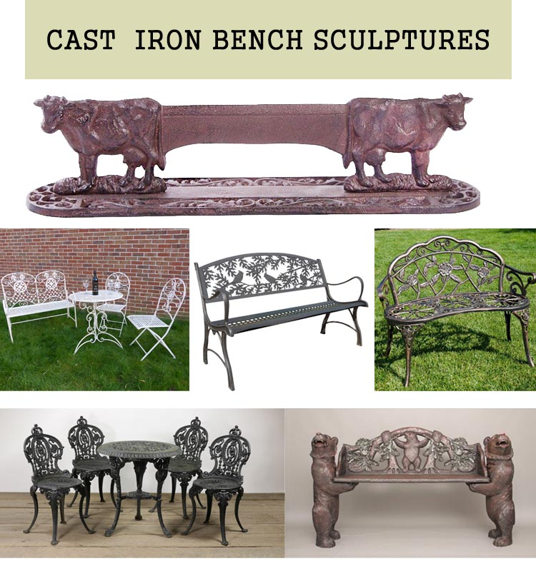 Norton New Design Black Wood Slats Cast Iron Bench For
