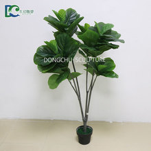 guangzhou factory high quality artificial potted green plants plastic faux fiddle leaf fig tree for decor