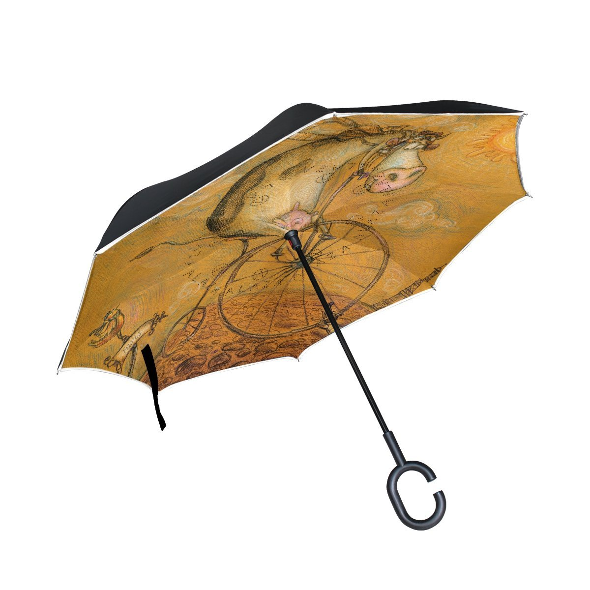 LAVOVO Vintage Cute Cow On The Bicycle Pattern Inverted Double Layer Straight Umbrellas Inside-Out Reversible Umbrella with C-Shaped Handle for Rain Sun Car Use