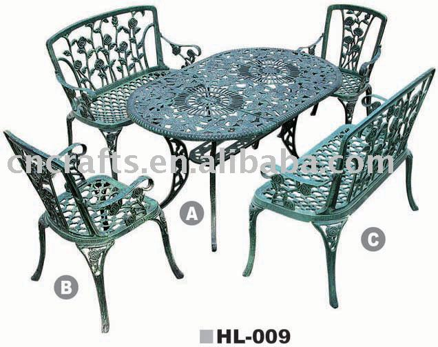 patio en fonte d 39 aluminium ensembles patio meubles de jardin salon de jardin jardin de table. Black Bedroom Furniture Sets. Home Design Ideas