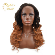 Hot sale virgin hair ombre color body wave Brazilian Human hair wig