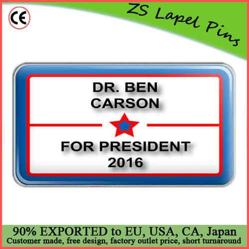 Custom top quality Dr. Ben Carson 2016 For President with Star Metal Lapel Hat Pin
