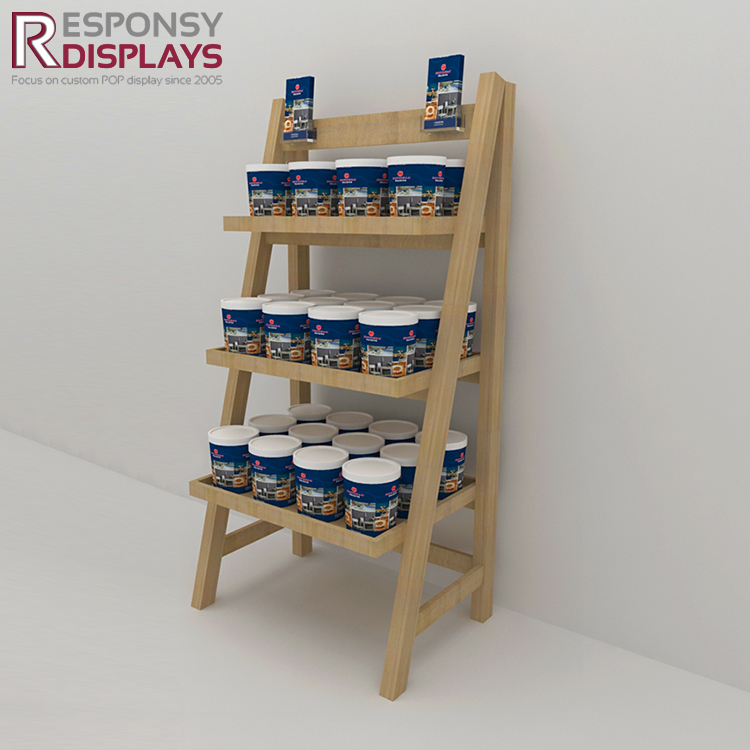 natural wood food & snack display stand for promotion