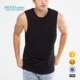 Cotton Spandex Tank Top Plain Black Sport Wear Top Essential Muscle Vest