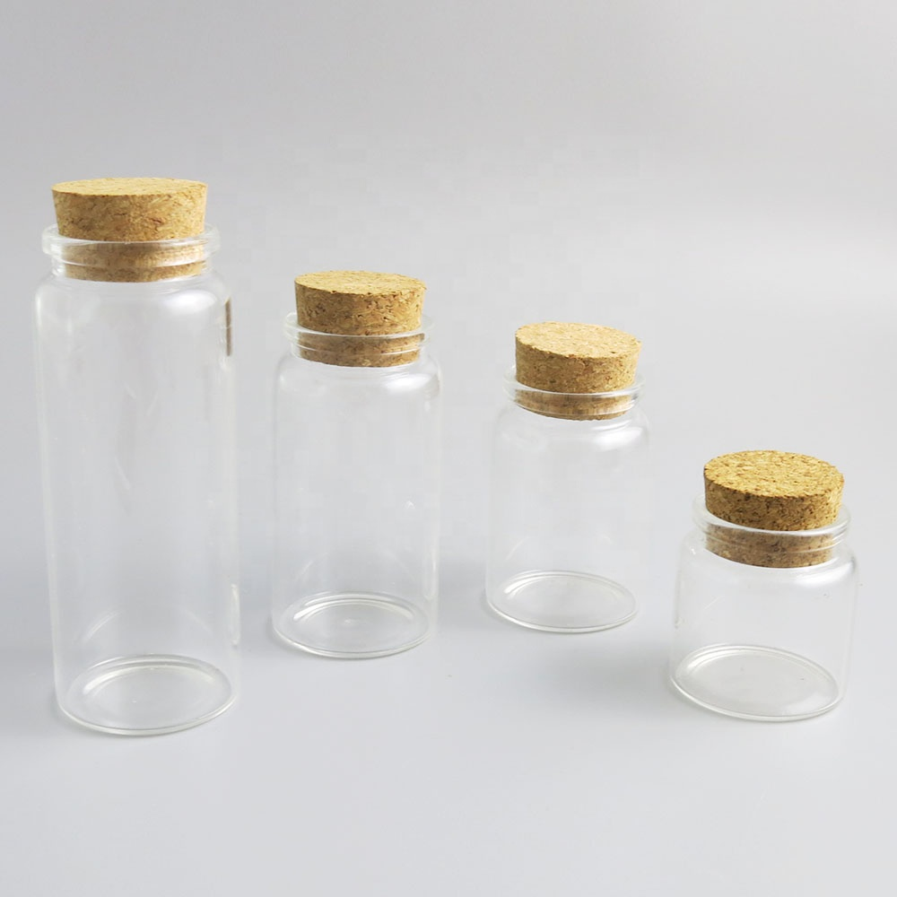 50ml 80ml 100ml 150ml Clear Cork Glass Bottle Empty Tiny Small Clear Cork Message Glass Bottles Vials