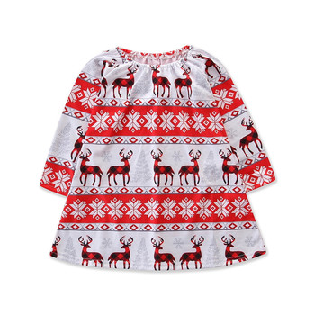 Happy New Year Christmas Deer Baby Girls Dress Long Sleeve Dress Baby Frock Design Pictures