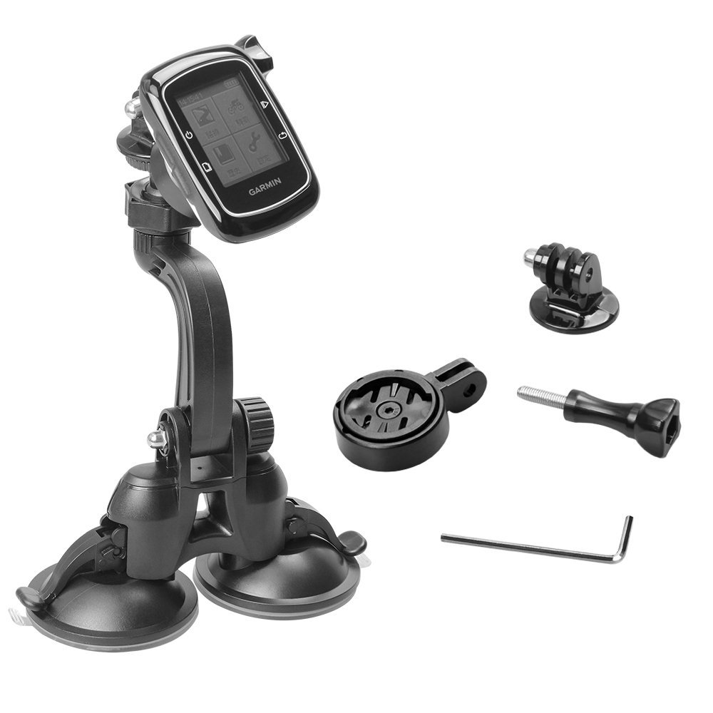 Koroao Professional Car Windshield Double Suction cup with Garmin EDGE holder adapter for Garmin Edge 25 200 500 510 520 800 810 1000 GPS