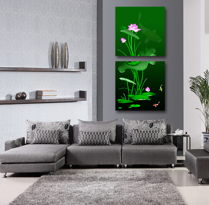 2 Pcs  water lily Flowers Wall Art Picture Modern Home Decor Living Room  Canvas Print Painting Wall picture LIU-024