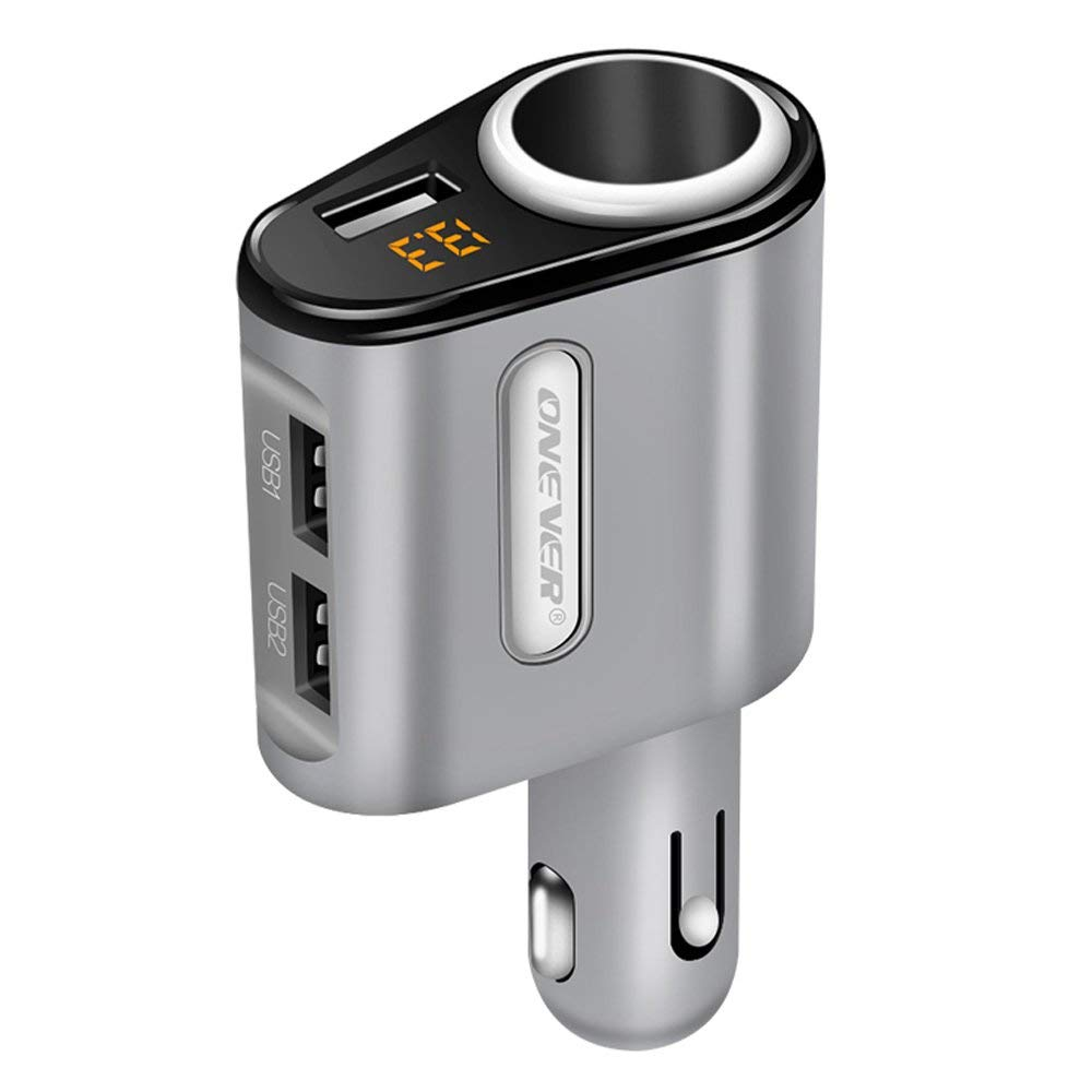 ONEVER Cigarette Lighter Power Adapter, 3 USB Car Charger DC Outlet Splitter Socket Voltage Display Compatible iPhone X/8/7/6s/6 Plus, iPad, Samsung Galaxy S9/S9 Plus More