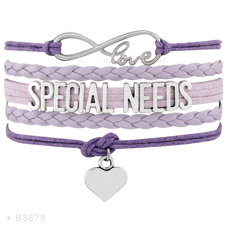 Milticolor Luxury Handmade Silver Children With Special Needs Id Alert Charm Leather Wrap Bracelets For Child