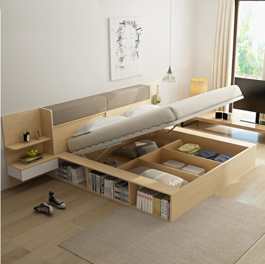 Space Saving Furnituremodern Simple Wooden Multi Purpose Bedmade