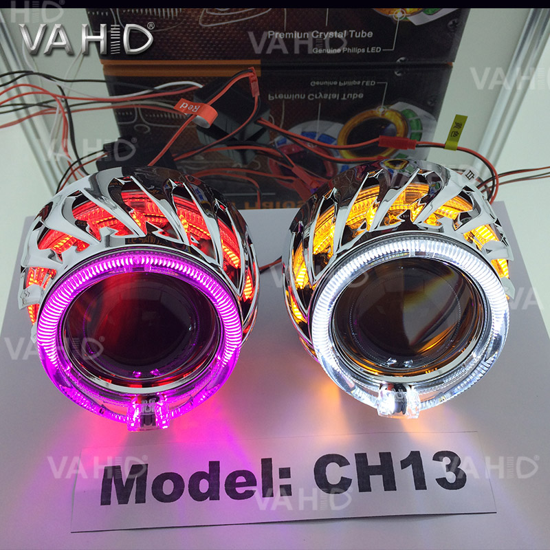 CH13 Round Crystal double angel eye bixenon hid projector kit with white green blue angel eye and blue devil eye