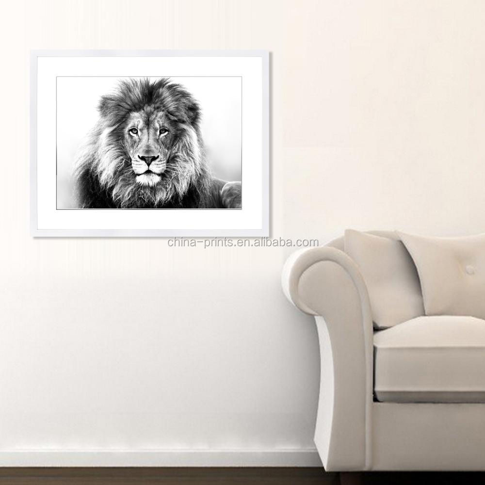 Leeuw foto digitale print/zwarte en witte muur foto/fotolijst ...