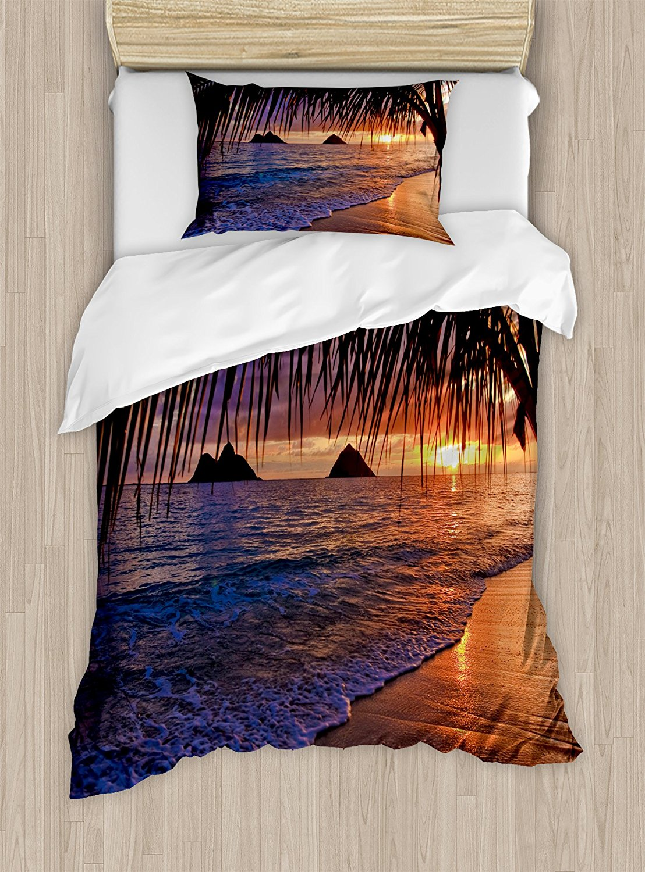 Ambesonne Hawaiian Duvet Cover Set Twin Size, Pacific Sunrise at Lanikai Beach Hawaii Sandy Tropics Hills Leaves Landmark, Decorative 2 Piece Bedding Set with 1 Pillow Sham, Purple Bronze