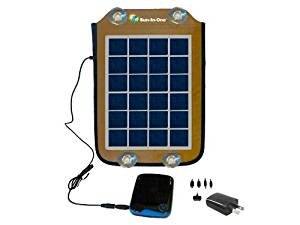 5 Watt Solar Cell Phone Charger. Includes: 5200mAh rechargeable battery, Fabric case with pouches, Suction cups for windshield mounting, Velcro straps for backpack mounting, Stand, AC adapter & variety of charging outputs. Charges Most Cell Phones with USB interface, Most Android Devices, Tablet,
