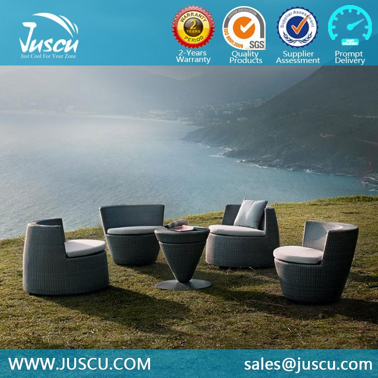 Rattan Wicker Outdoor Furniture with Round Chairs and Coffee Table