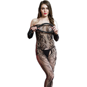 Hot sale open crotch transparent black silk one-piece body stocking sexy bodystocking lingerie