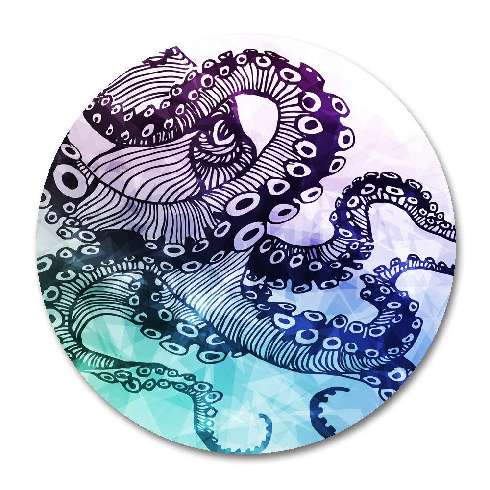 Octopus Round Mouse Pad by Smooffly,Blue Purple Octopus Mousepad Round Non Slip Rubber Mouse pad Gaming Mouse Pad
