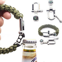 Outdoor Survival Emergency Paracord Bracelet with Scraper & or Knife, Flintstone Fire Starter, and Bottle Opener